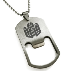 Stainless Steel Letter U Alphabet Initial 3D Cube Box Monogram Engraved Bottle Opener Dog Tag Pendant Necklace - Tioneer