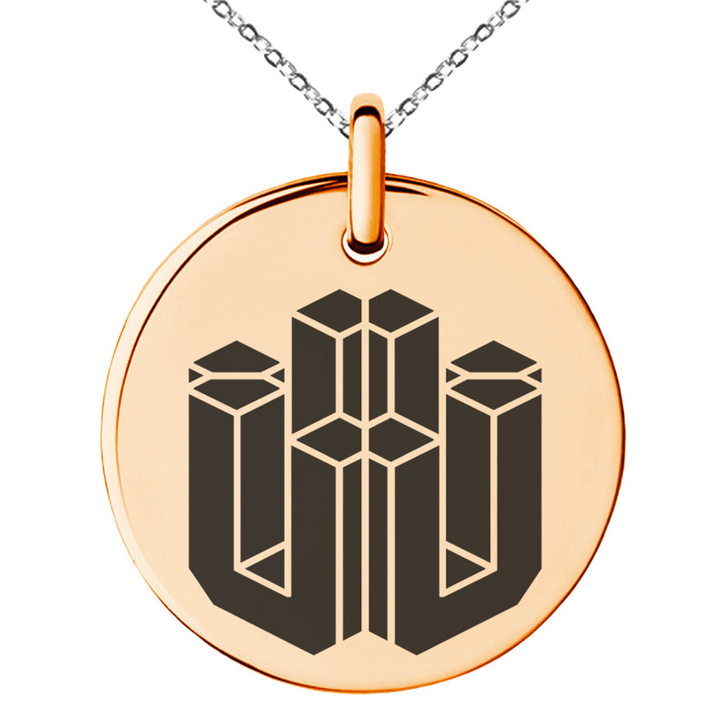 Stainless Steel Letter U Initial 3D Cube Box Monogram Engraved Small Medallion Circle Charm Pendant Necklace