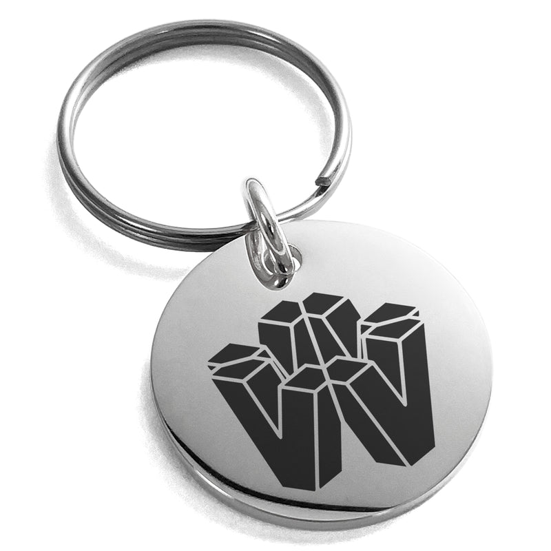 Stainless Steel Letter V Initial 3D Cube Box Monogram Engraved Small Medallion Circle Charm Keychain Keyring - Tioneer
