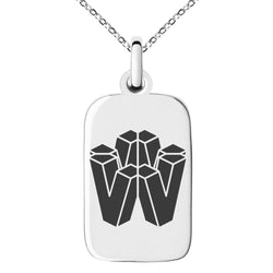 Stainless Steel Letter V Initial 3D Cube Box Monogram Engraved Small Rectangle Dog Tag Charm Pendant Necklace