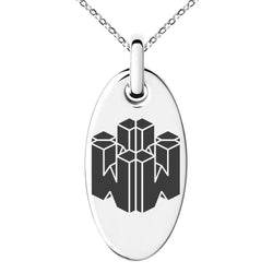 Stainless Steel Letter W Initial 3D Cube Box Monogram Engraved Small Oval Charm Pendant Necklace