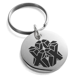 Stainless Steel Letter X Initial 3D Cube Box Monogram Engraved Small Medallion Circle Charm Keychain Keyring - Tioneer