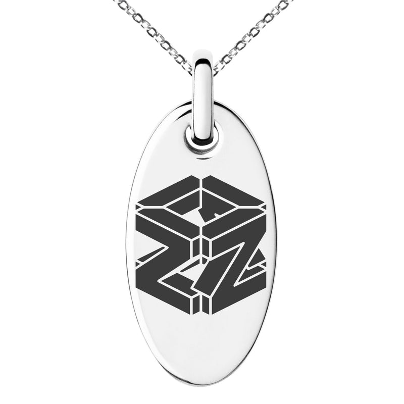 Stainless Steel Letter Z Initial 3D Cube Box Monogram Engraved Small Oval Charm Pendant Necklace - Tioneer