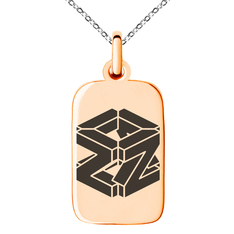 Stainless Steel Letter Z Initial 3D Cube Box Monogram Engraved Small Rectangle Dog Tag Charm Pendant Necklace - Tioneer