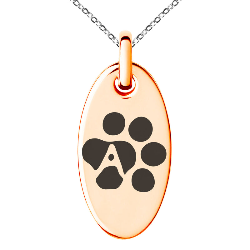 Stainless Steel Letter A Initial Cat Dog Paws Monogram Engraved Small Oval Charm Pendant Necklace