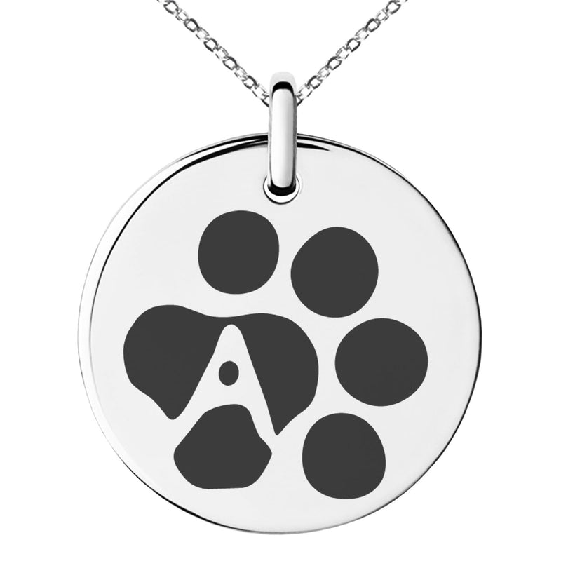Stainless Steel Letter A Initial Cat Dog Paws Monogram Engraved Small Medallion Circle Charm Pendant Necklace