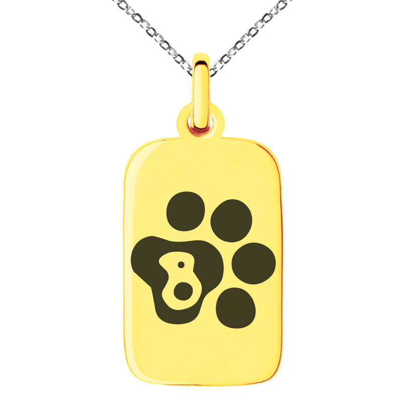 Stainless Steel Letter B Initial Cat Dog Paws Monogram Engraved Small Rectangle Dog Tag Charm Pendant Necklace