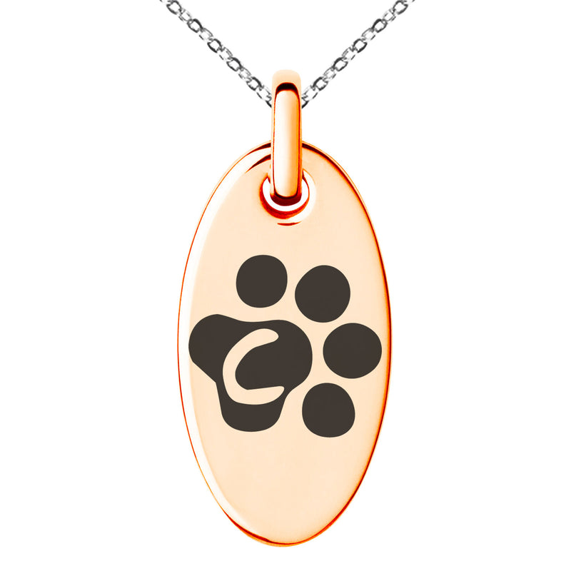 Stainless Steel Letter C Initial Cat Dog Paws Monogram Engraved Small Oval Charm Pendant Necklace