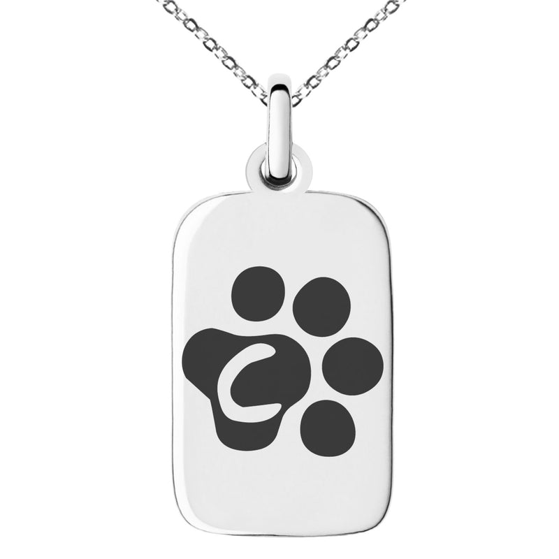 Stainless Steel Letter C Initial Cat Dog Paws Monogram Engraved Small Rectangle Dog Tag Charm Pendant Necklace