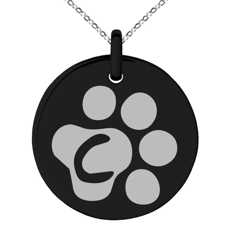 Stainless Steel Letter C Initial Cat Dog Paws Monogram Engraved Small Medallion Circle Charm Pendant Necklace