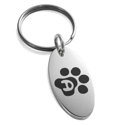 Stainless Steel Letter D Initial Cat Dog Paws Monogram Engraved Small Oval Charm Keychain Keyring - Tioneer