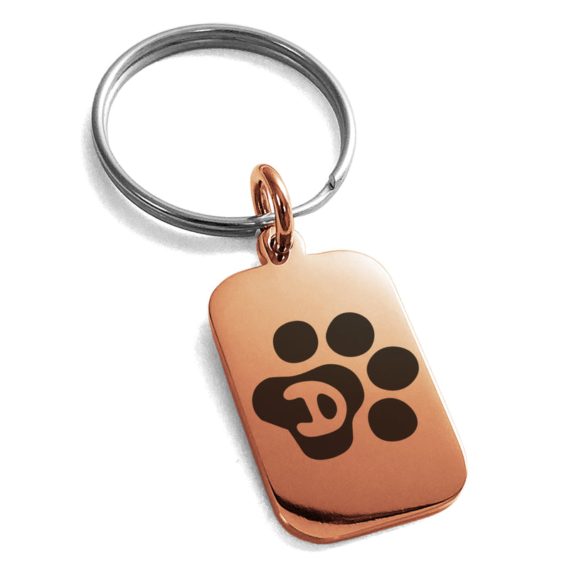 Stainless Steel Letter D Initial Cat Dog Paws Monogram Engraved Small Rectangle Dog Tag Charm Keychain Keyring - Tioneer