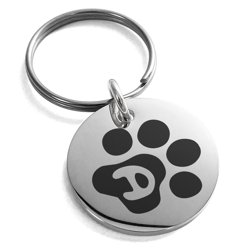 Stainless Steel Letter D Initial Cat Dog Paws Monogram Engraved Small Medallion Circle Charm Keychain Keyring - Tioneer