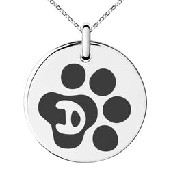 Stainless Steel Letter D Initial Cat Dog Paws Monogram Engraved Small Medallion Circle Charm Pendant Necklace