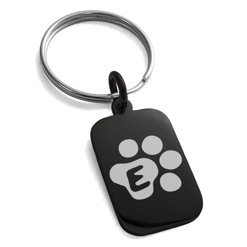 Stainless Steel Letter E Initial Cat Dog Paws Monogram Engraved Small Rectangle Dog Tag Charm Keychain Keyring - Tioneer
