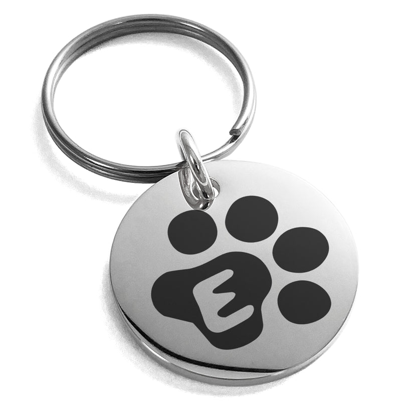 Stainless Steel Letter E Initial Cat Dog Paws Monogram Engraved Small Medallion Circle Charm Keychain Keyring - Tioneer