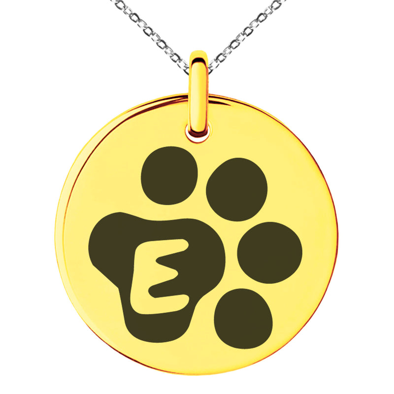 Stainless Steel Letter E Initial Cat Dog Paws Monogram Engraved Small Medallion Circle Charm Pendant Necklace