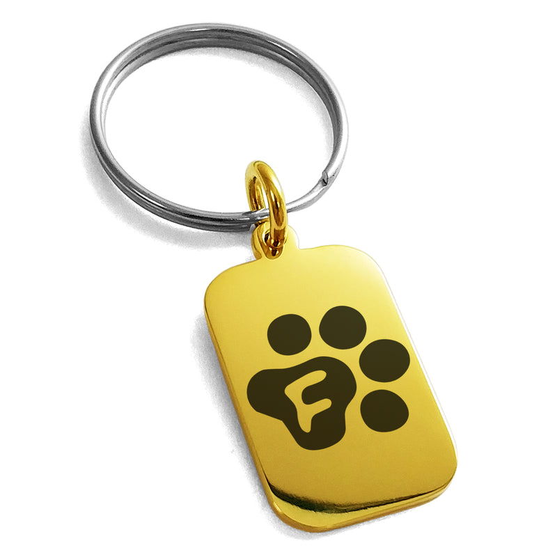 Stainless Steel Letter F Initial Cat Dog Paws Monogram Engraved Small Rectangle Dog Tag Charm Keychain Keyring - Tioneer