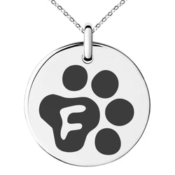 Stainless Steel Letter F Initial Cat Dog Paws Monogram Engraved Small Medallion Circle Charm Pendant Necklace