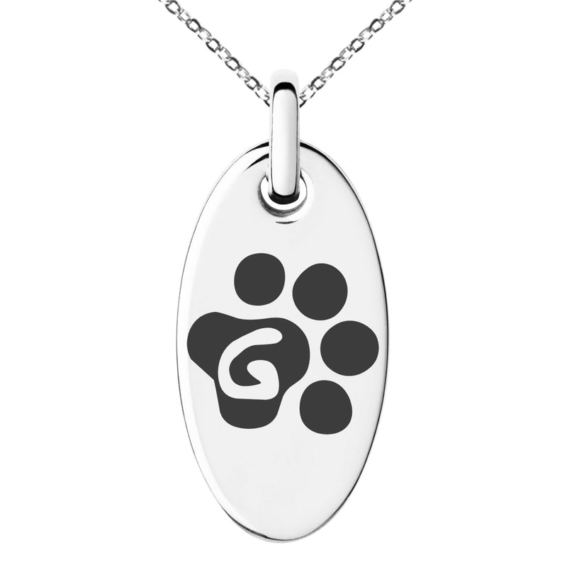Stainless Steel Letter G Initial Cat Dog Paws Monogram Engraved Small Oval Charm Pendant Necklace
