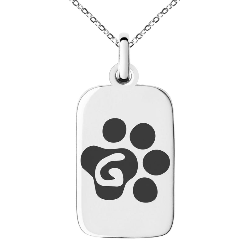 Stainless Steel Letter G Initial Cat Dog Paws Monogram Engraved Small Rectangle Dog Tag Charm Pendant Necklace