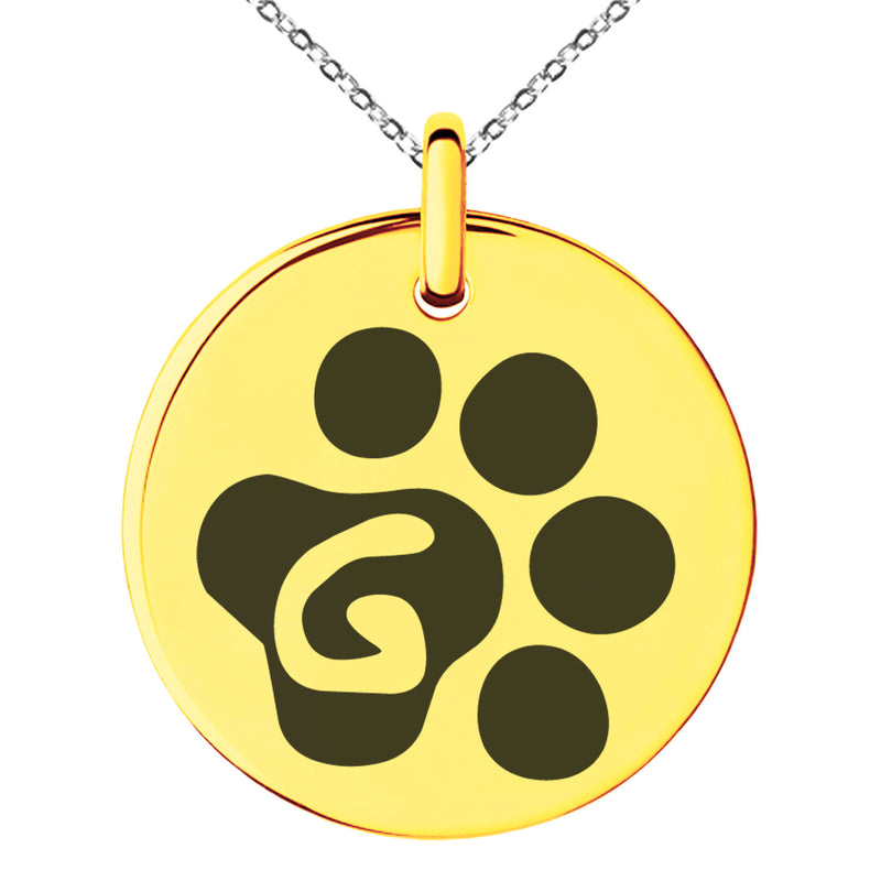 Stainless Steel Letter G Initial Cat Dog Paws Monogram Engraved Small Medallion Circle Charm Pendant Necklace