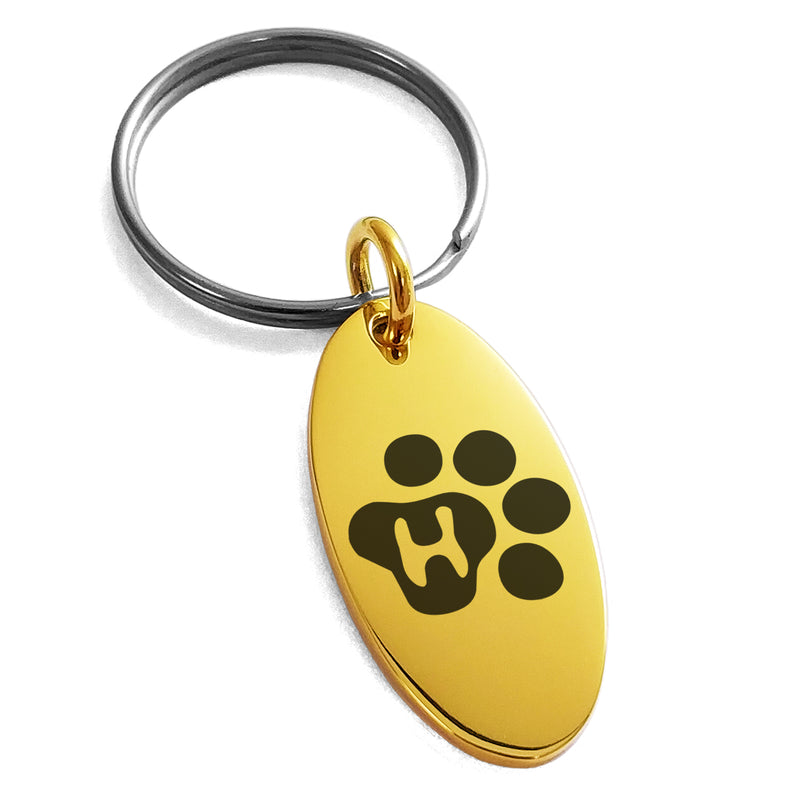 Stainless Steel Letter H Initial Cat Dog Paws Monogram Engraved Small Oval Charm Keychain Keyring - Tioneer