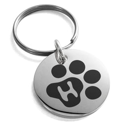 Stainless Steel Letter H Initial Cat Dog Paws Monogram Engraved Small Medallion Circle Charm Keychain Keyring - Tioneer