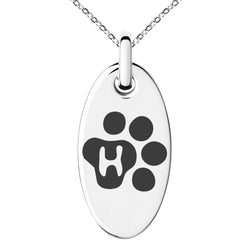 Stainless Steel Letter H Initial Cat Dog Paws Monogram Engraved Small Oval Charm Pendant Necklace