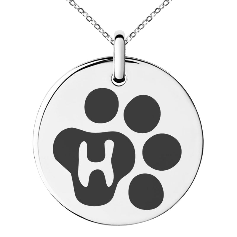 Stainless Steel Letter H Initial Cat Dog Paws Monogram Engraved Small Medallion Circle Charm Pendant Necklace