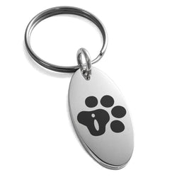 Stainless Steel Letter I Initial Cat Dog Paws Monogram Engraved Small Oval Charm Keychain Keyring - Tioneer