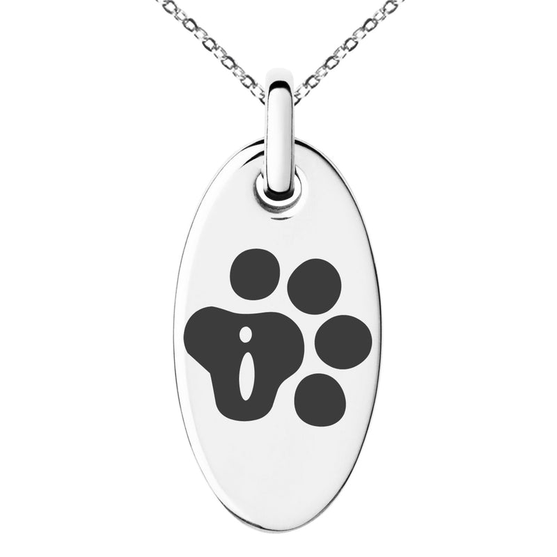 Stainless Steel Letter I Initial Cat Dog Paws Monogram Engraved Small Oval Charm Pendant Necklace