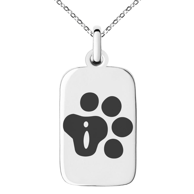 Stainless Steel Letter I Initial Cat Dog Paws Monogram Engraved Small Rectangle Dog Tag Charm Pendant Necklace