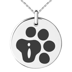 Stainless Steel Letter I Initial Cat Dog Paws Monogram Engraved Small Medallion Circle Charm Pendant Necklace