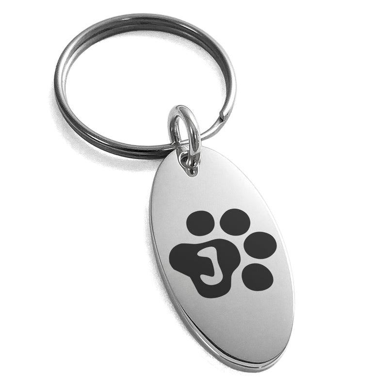 Stainless Steel Letter J Initial Cat Dog Paws Monogram Engraved Small Oval Charm Keychain Keyring - Tioneer