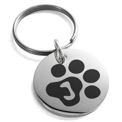 Stainless Steel Letter J Initial Cat Dog Paws Monogram Engraved Small Medallion Circle Charm Keychain Keyring - Tioneer