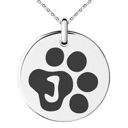 Stainless Steel Letter J Initial Cat Dog Paws Monogram Engraved Small Medallion Circle Charm Pendant Necklace