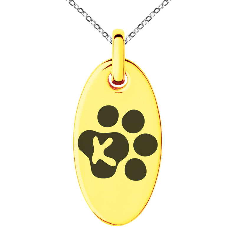 Stainless Steel Letter K Initial Cat Dog Paws Monogram Engraved Small Oval Charm Pendant Necklace