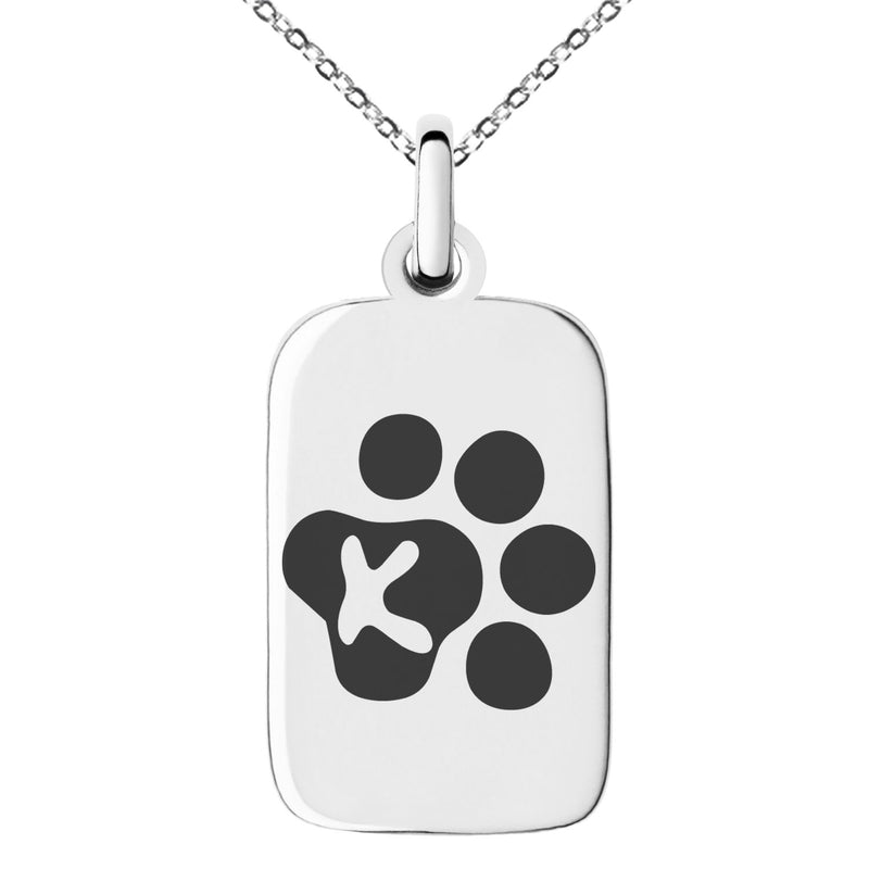 Stainless Steel Letter K Initial Cat Dog Paws Monogram Engraved Small Rectangle Dog Tag Charm Pendant Necklace