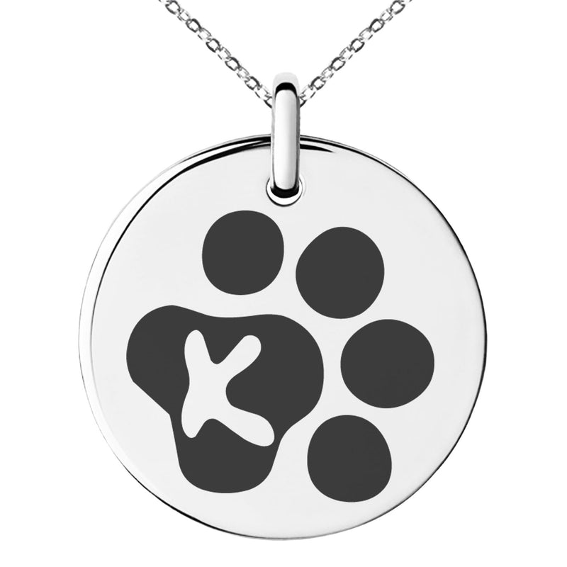 Stainless Steel Letter K Initial Cat Dog Paws Monogram Engraved Small Medallion Circle Charm Pendant Necklace