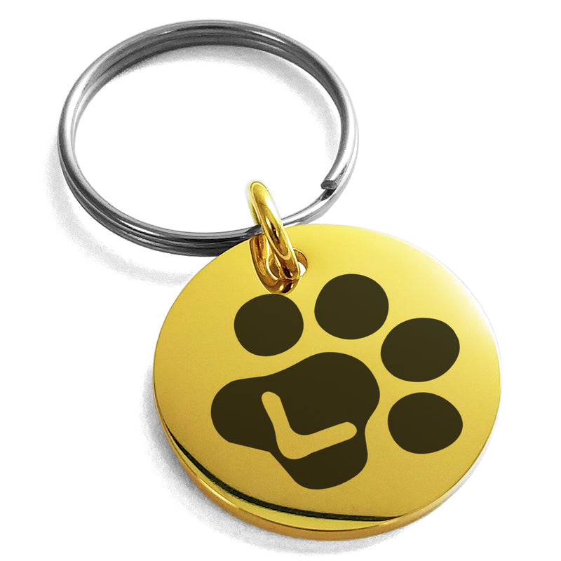 Stainless Steel Letter L Initial Cat Dog Paws Monogram Engraved Small Medallion Circle Charm Keychain Keyring - Tioneer