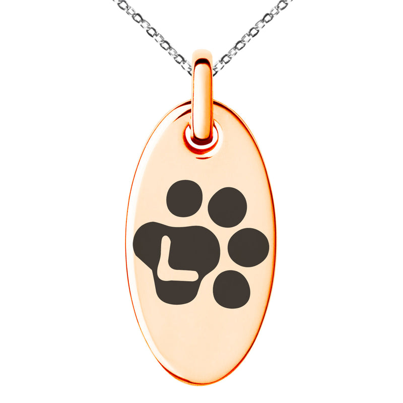 Stainless Steel Letter L Initial Cat Dog Paws Monogram Engraved Small Oval Charm Pendant Necklace