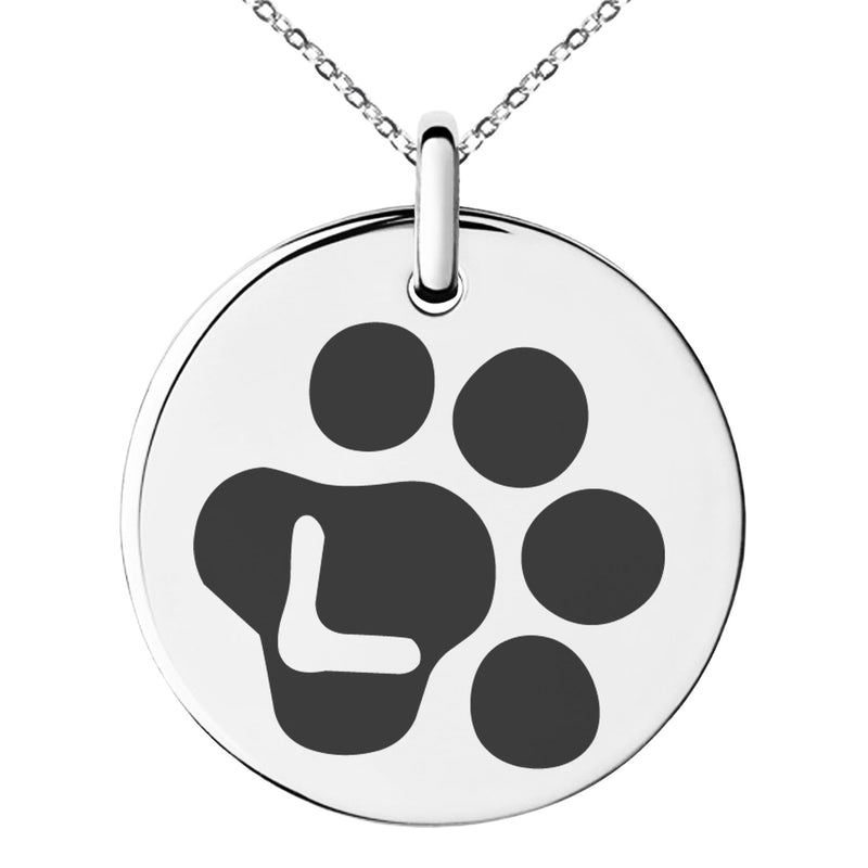 Stainless Steel Letter L Initial Cat Dog Paws Monogram Engraved Small Medallion Circle Charm Pendant Necklace