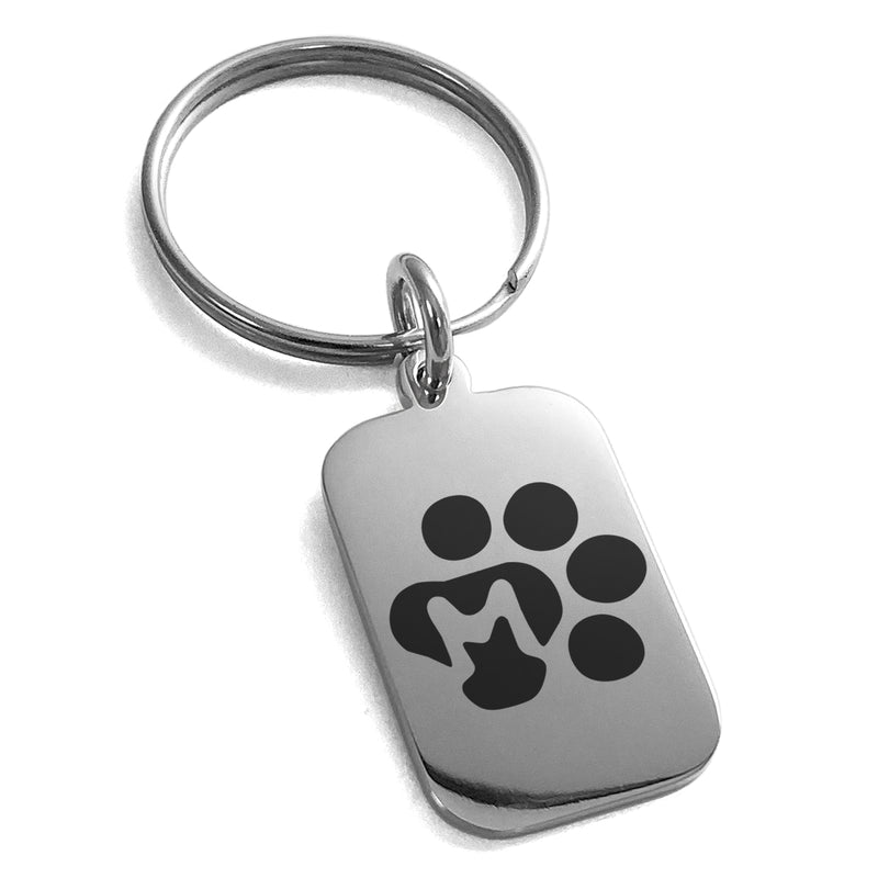 Stainless Steel Letter M Initial Cat Dog Paws Monogram Engraved Small Rectangle Dog Tag Charm Keychain Keyring - Tioneer