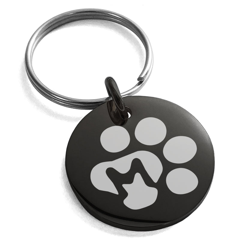 Stainless Steel Letter M Initial Cat Dog Paws Monogram Engraved Small Medallion Circle Charm Keychain Keyring - Tioneer