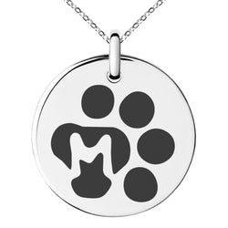 Stainless Steel Letter M Initial Cat Dog Paws Monogram Engraved Small Medallion Circle Charm Pendant Necklace