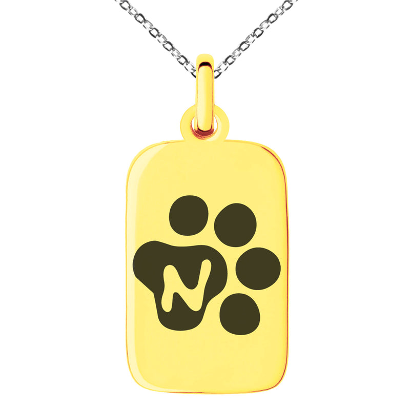 Stainless Steel Letter N Initial Cat Dog Paws Monogram Engraved Small Rectangle Dog Tag Charm Pendant Necklace