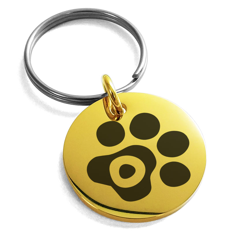 Stainless Steel Letter O Initial Cat Dog Paws Monogram Engraved Small Medallion Circle Charm Keychain Keyring - Tioneer