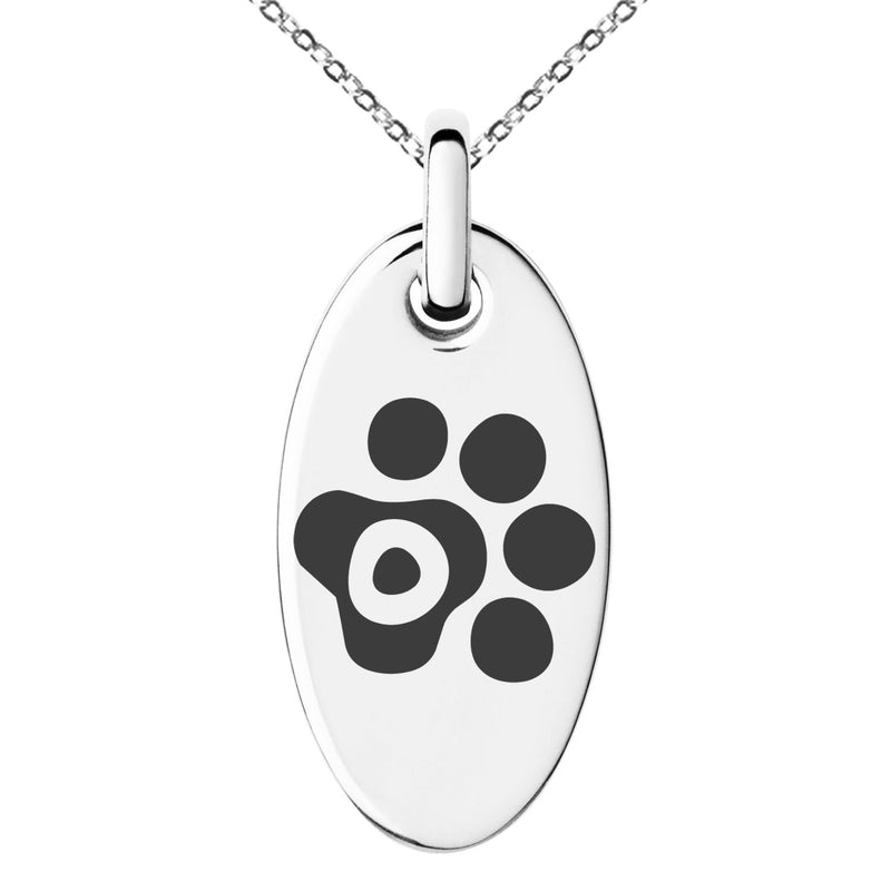 Stainless Steel Letter O Initial Cat Dog Paws Monogram Engraved Small Oval Charm Pendant Necklace