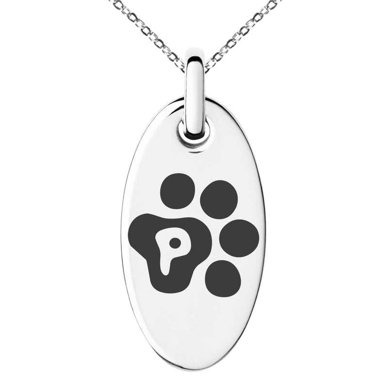 Stainless Steel Letter P Initial Cat Dog Paws Monogram Engraved Small Oval Charm Pendant Necklace
